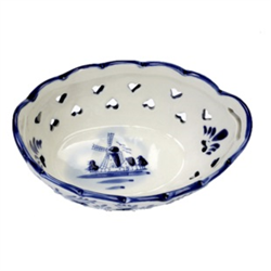 DELFT BLUE Bowl/Dish Oval Heart cut outs - Mill 10cm