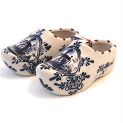 DELFT BLUE Ceramic Wooden Shoes Pair LARGE 12cm