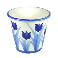 Blue Pot for Plants Tulips Design 13x15cm
