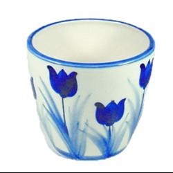 Blue Pot for Plants Tulips Design 12x14cm
