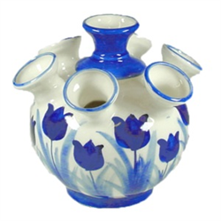Blue Vase for Tulips 7 Arms Tulips Design 14x18cm