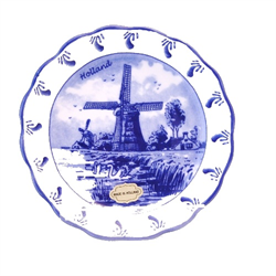 DELFT BLUE Bowl/Dish with Scalloped Edge - Mill