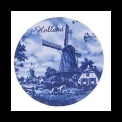 DELFT BLUE Coaster Ceramic - Windmills w/ Horses