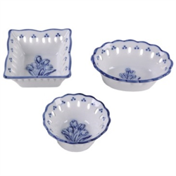 DELFT BLUE Bowls/Dishes 3 asst.. - Tulips