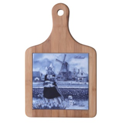 DELFT BLUE Cheeseboard - Tulip Lady w/ Dog / Tulip Field