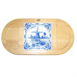 CHEESE BOARD Wood Oval with Delft Blue Tile